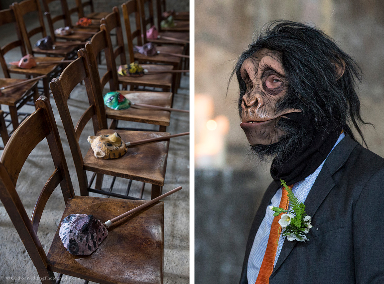 Animal masked on wooden seats and a monkey mask being worn at a wedding in Asylum Chapel London.