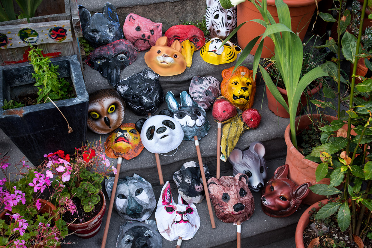 A collection of coloured animal masks are placed on steps with green plants