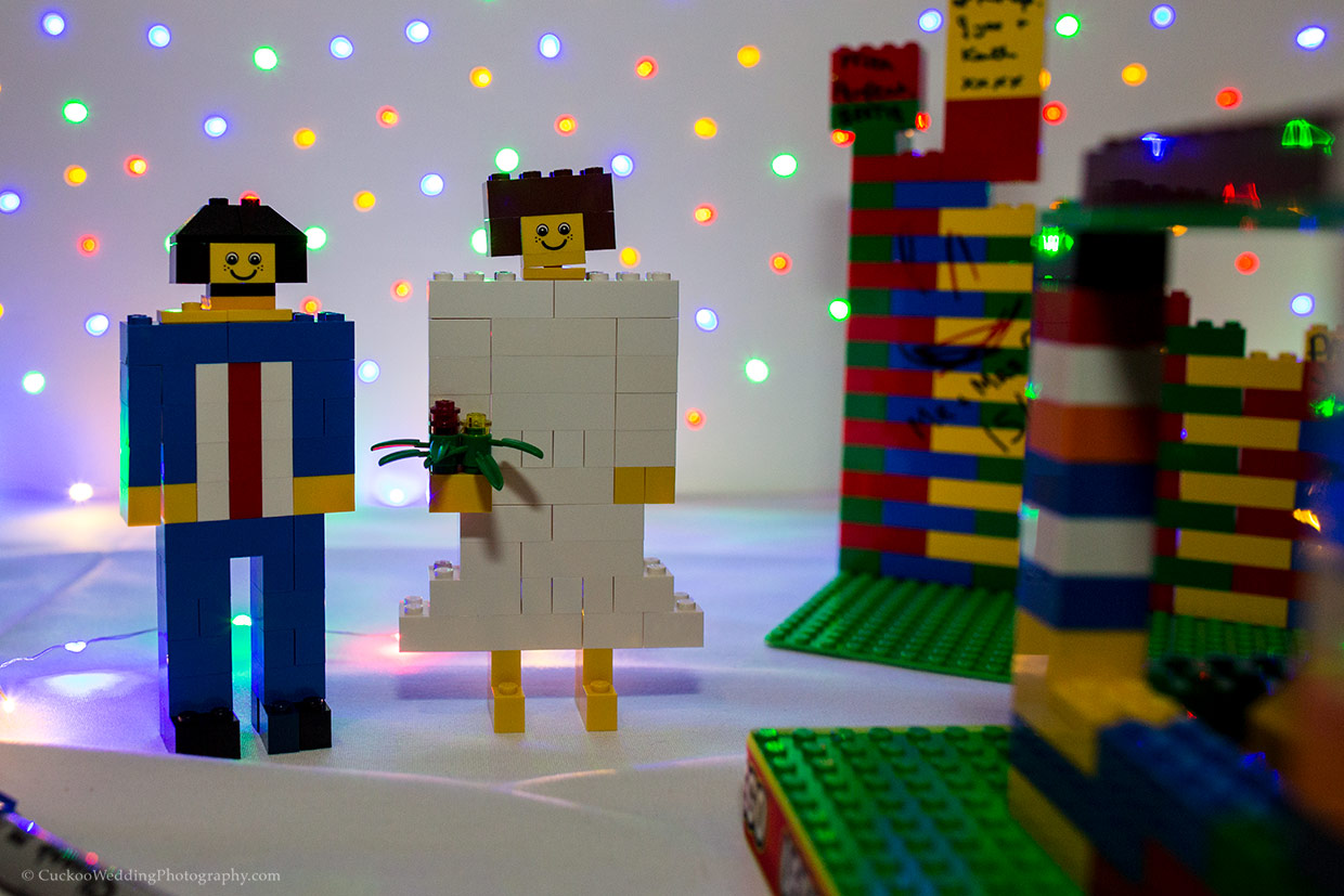 Lego wedding couple made out of seperate lego blocks
